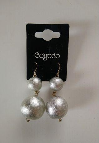 Duże, wiszące kolczyki kulki srebrne, COYOCO
