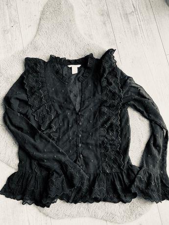 Bluzka ażurowa czarna przezroczysta falbanki kropki hm 34