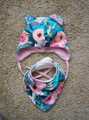 Набір Шапочка весняна двохшарова шапка весенняя на об'єм 42-45, 6-9 м