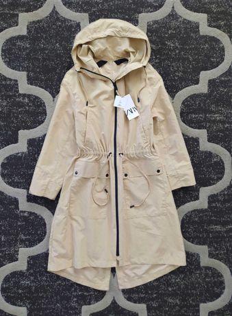 Przeciwdeszczowa kurtka Zara parka kokor beżowy XS 34 oversize