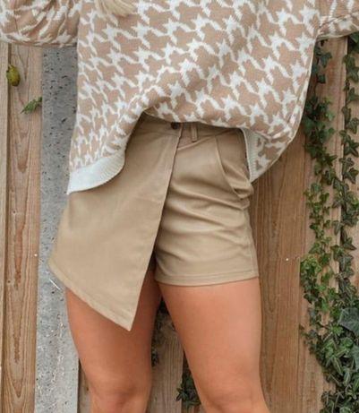 Spodenki spodnie krótkie ekoskora skórzane L