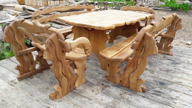 Dębowe Meble Ogrodowe Stół + 4 Ławki Biesiadne Masywne Komplety