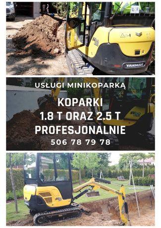usługi minikoparką minikoparka Grójec Chynów Tarczyn Piaseczno