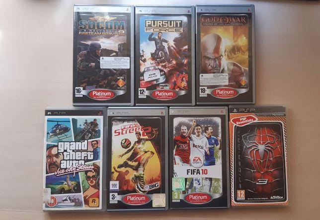 Gry PSP 7szt FIFA, GTA, God of War, Spider-Man, Pursuit Force, Socom