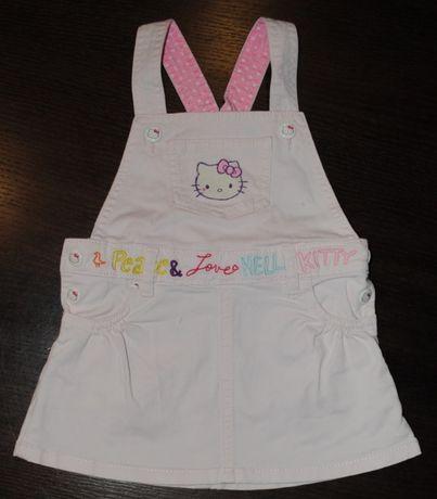 39-> super sukienka ogrodniczka jeansowa HELLO KITTY H&M 9-12mca r80