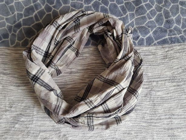 Женский серый хлопковый шарф