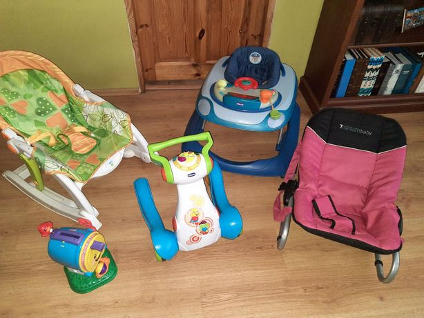 Zabawki jeździk pchacz chodzik wózek Bujaczek chicco Fisher Price
