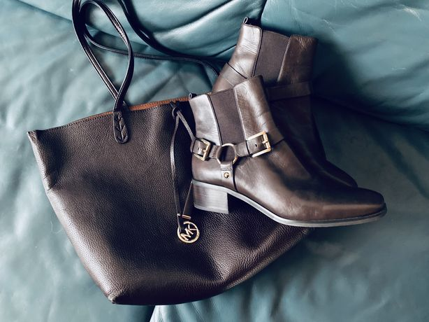 Шкіряні ботінки MICHAEL KORS Leather Ankle Boot + сумка МК у подарунок