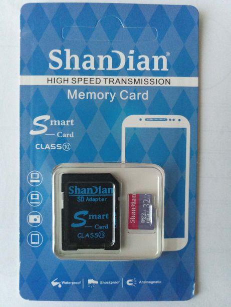 Продам карту памяти ShanDian, micro sd, C10, 32 ГБ + SD адаптер