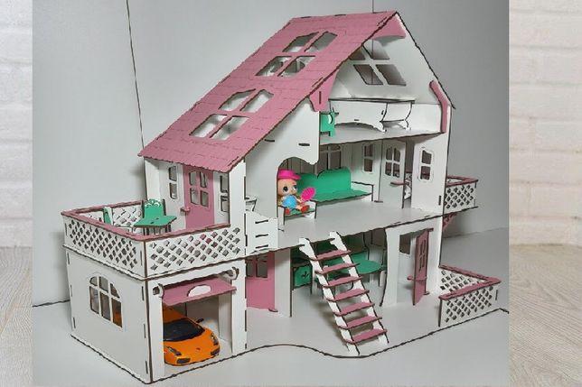 """Домик для кукол деревянный """"Вилла"""" 3 этажа + мебель в подарок"""