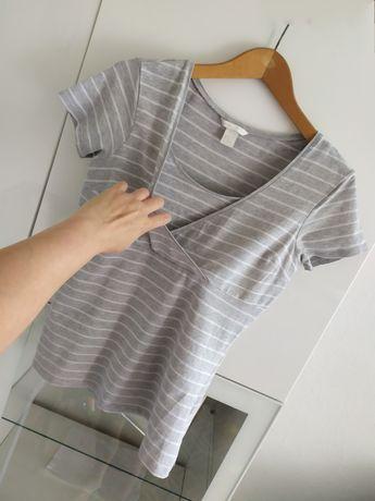 Bluzka do karmienia M H&M mama szara koszulka t-shirt 38 ubrania