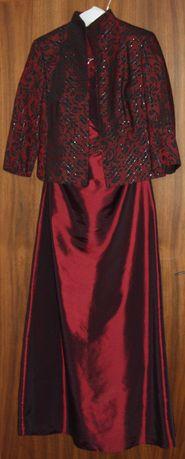 Sukienka bordowo-czarna, trzyczęściowa
