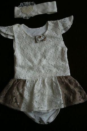 Нарядное платье-боди и повязка для новорожденного