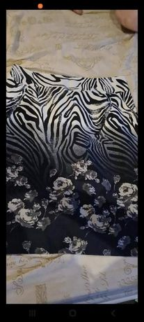 Spódnica motyw zebry i kwiatów