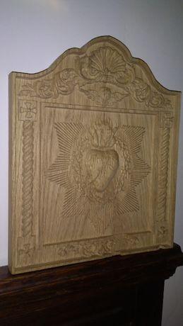 Serce Gorejące Miłość Jezus Maryja Obraz Prezent Dąb Drewno