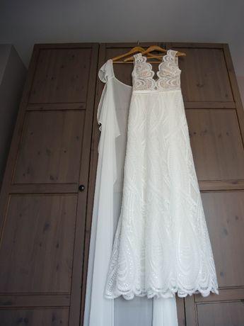 Suknia ślubna ecru Melania MS MODA 2020 koronka pelerynka 36 S