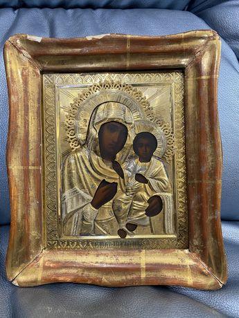 Старинная икона в серебренном окладе 84 пробы