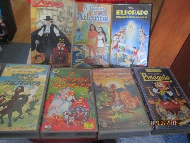 7 cassetes VHS de desenhos animados