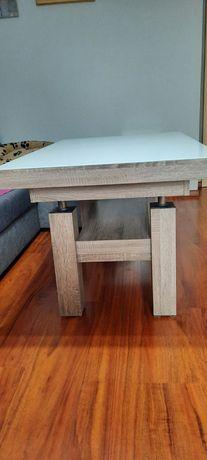 Stół - ławostół biały z elementami drewna