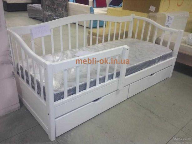 """Детская Подростковая кровать """"Американка"""" 80х190 см из ольхи с ящиками"""