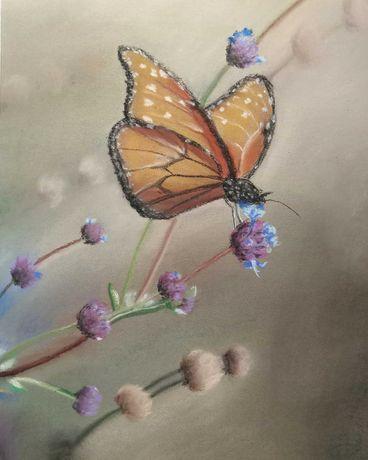 Obraz malowany pastelami suchymi. Oprawiony w ramkę za szkłem