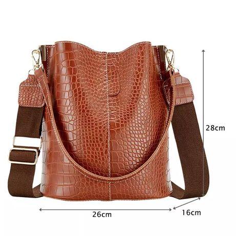 Рыжая/коричневая сумка-мешок кожа крокодила на плечо и ремнём женская