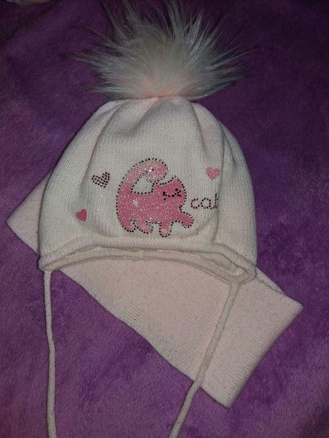 шапка зимняя шарф комплект детский для девочки