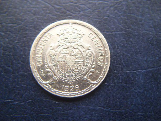 Stare monety 50 centymów 1926 Hiszpania srebro