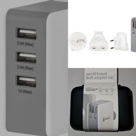 Carregador USB + Adaptadores Viagem + Bolsa - NOVO!!!