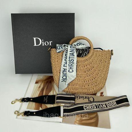 Женская соломенная плетённая сумка корзина с платочком Dior Диор жіноч