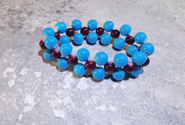 Bransoletka damska, szklane koraliki niebieskie i bordowe
