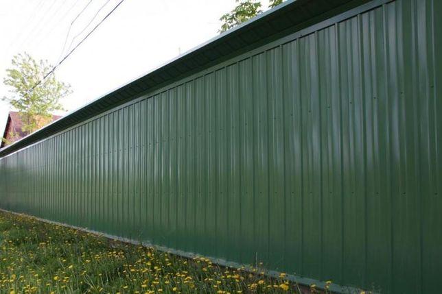 Установка монтаж металлических  заборов из профнастила под ключ ворота