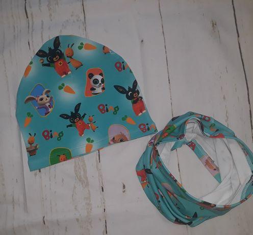 Jesienny zestaw  czapki z kominem bing