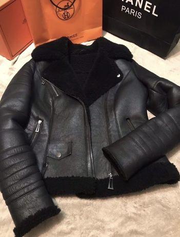 Куртка дубленка косуха пилот авиатор,кожа овчина S-M