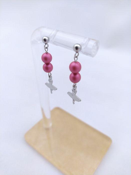 Wiszące kolczyki baletnice różowe stal chirurgiczna perły Swarovskiego Gniezno - image 1