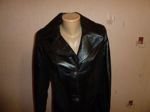Кожаное пальто, р XL, нат кожа+нат замша