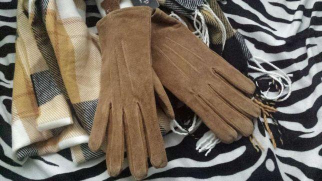 Skórzane rękawiczki beżowe S, ocieplane