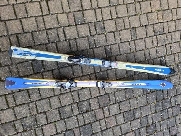 Narty dwie pary, buty narciarskie 2 pary i kijki narciarskie 3 pary