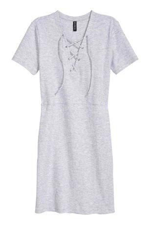 sukienka szara prążki H&M sznurowanie wiązanie M 40 raz założon