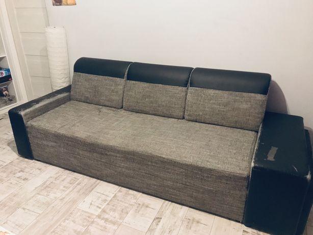 Kanapa rozkladana szara wygodna sofa