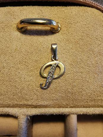 Złota zawieszka litera P z cyrkoniami złoto 585