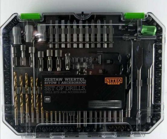 Zestaw wierteł bitów i akcesoriów Niteo Tools 400 elementów.