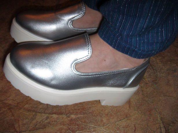 серебрянные туфли платформа танкетка