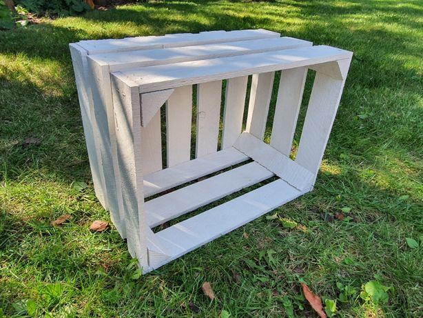 Skrzynka drewniana biała 39x29x24 cm regały skrzynki jedynki