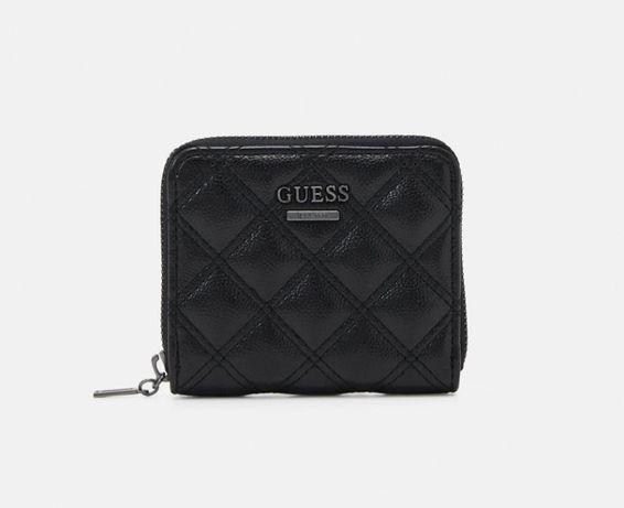 Guess nowy oryginalny portfel czarny mały pikowany