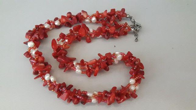 Ожерелье кораллы с жемчугом