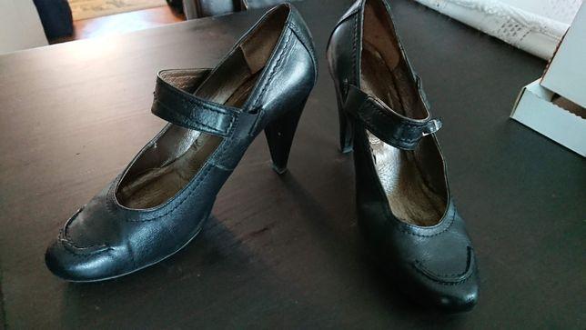 Czarne czółenka buty na obcasie Żurek skóra naturalna r. 40