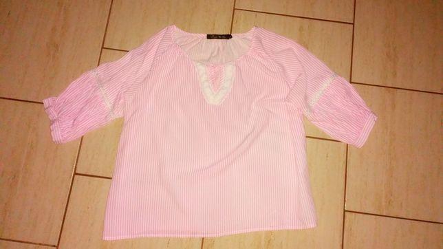 Modna bluzka damska - paski, hafty, gipiura, rozmiar L, jak nowa