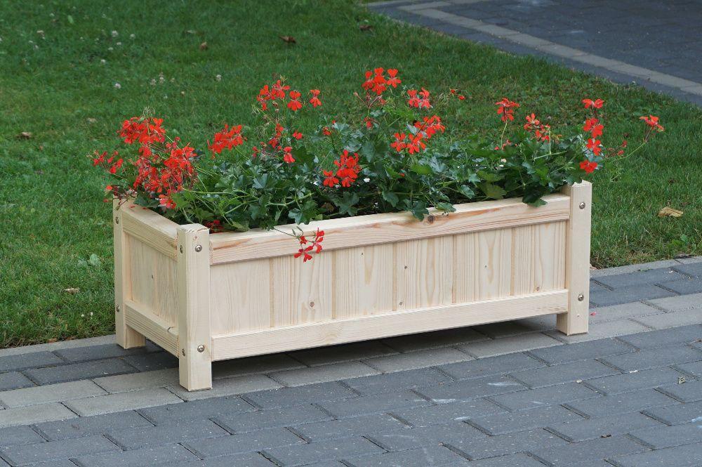 Doniczka drewniana, skrzynka na kwiaty, doniczki drewniane na zioła Błonie - image 1