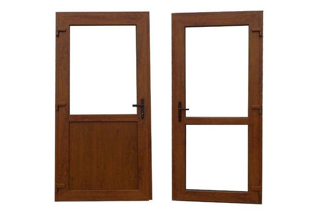 Drzwi zewnętrzne PCV 1000x2000 złoty dąb sklepowe tarasowe balkonowe